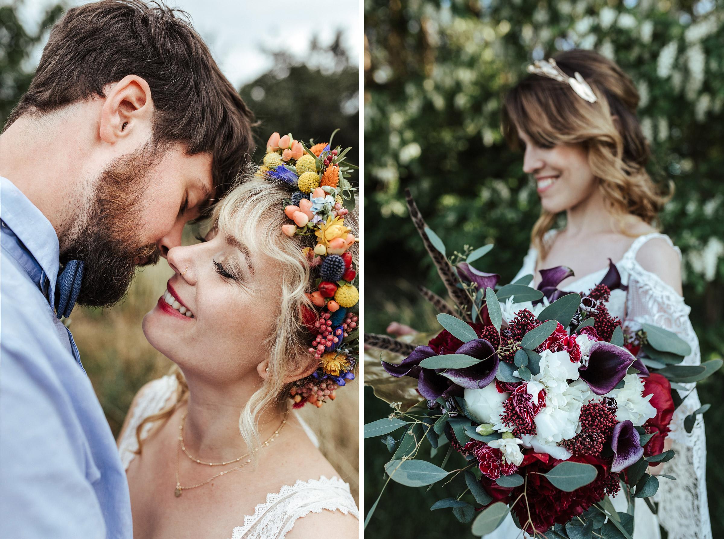 Blumenkranz und Brautstrauß