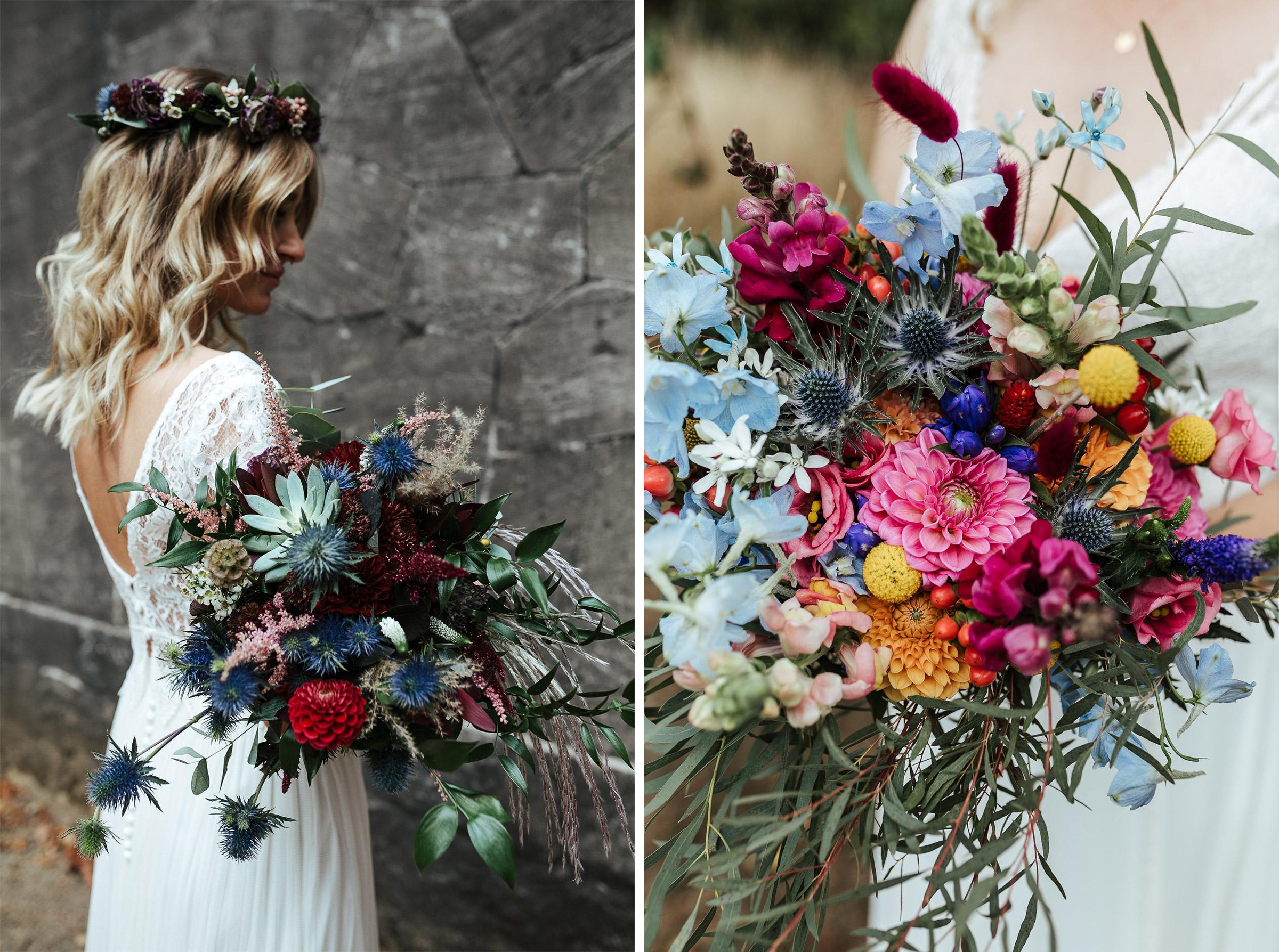 Blumenschmuck von Kopflegenden: zwei Brautsträuße