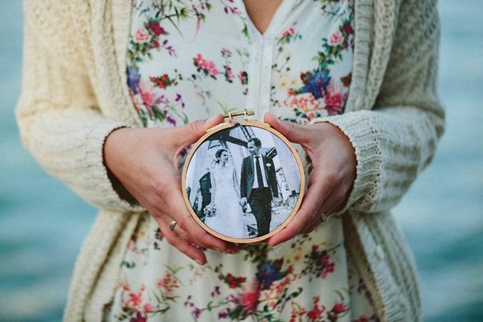 Hochzeitsfoto im Stickrahmen